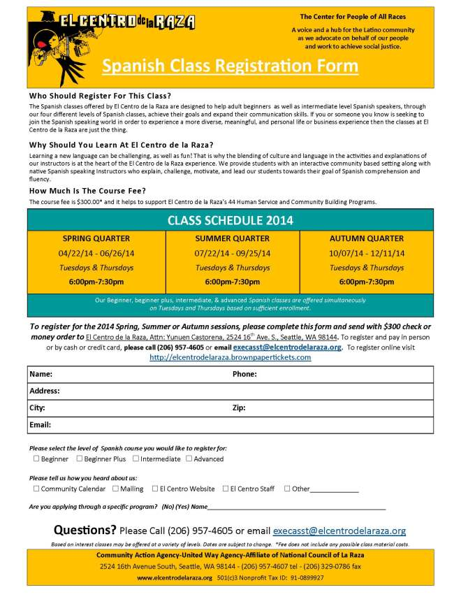 2014 Spanish Class Registration Form